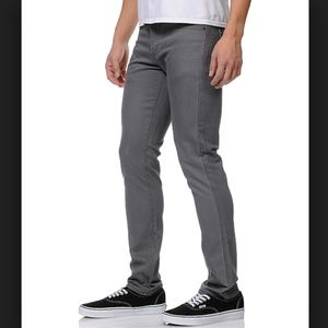 RVCA Spanky Denim Slim Fit Gray Jeans Size 30 X 31